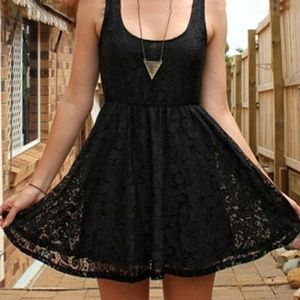 Express | Black Lace Fit & Flare Skater Dress | S